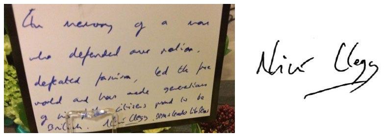 Nick Clegg's Handwriting