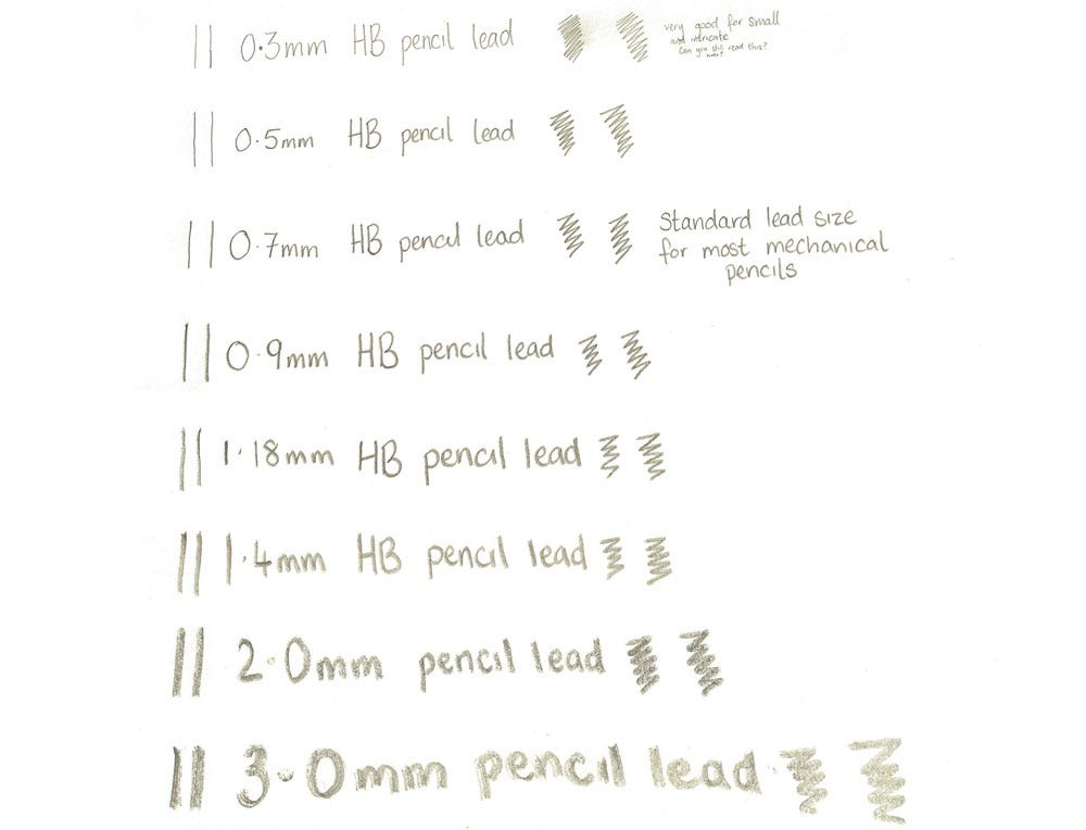 Lead Sizes for Mechanical Pencils