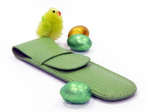 Easter Colour Egg-stravaganza: Green - Laurige Leather 1 Pen Case