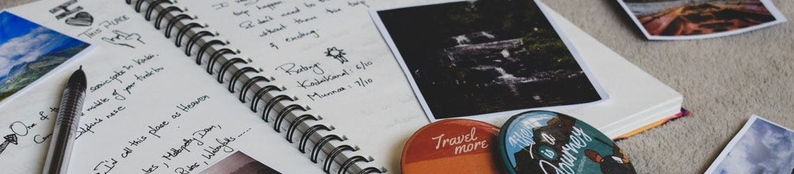 Travel journal with writing and photos