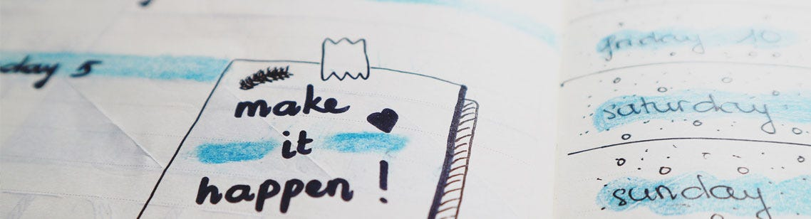 Drawing of 'Post-It' saying Make It Happen