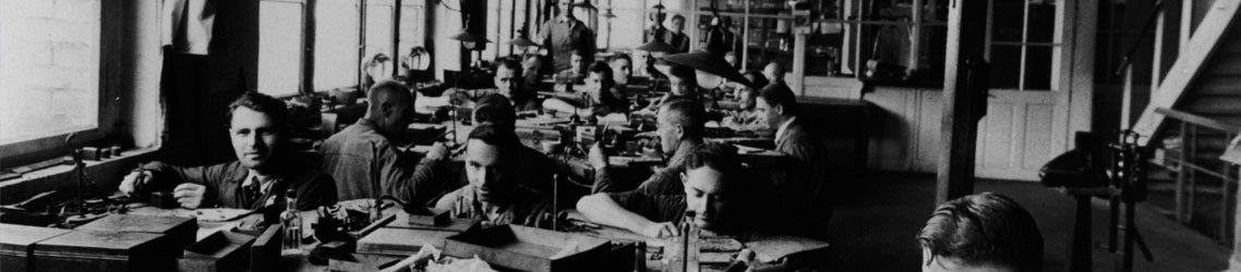Employees at work in the Otto Hutt factory circa 1930