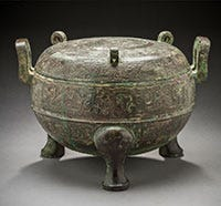 An ancient 3 legged cooking pot