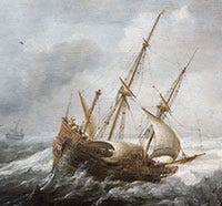A ship in a storm. Part of 'Ships in a Storm on a Rocky Coast' by Jan Porcellis