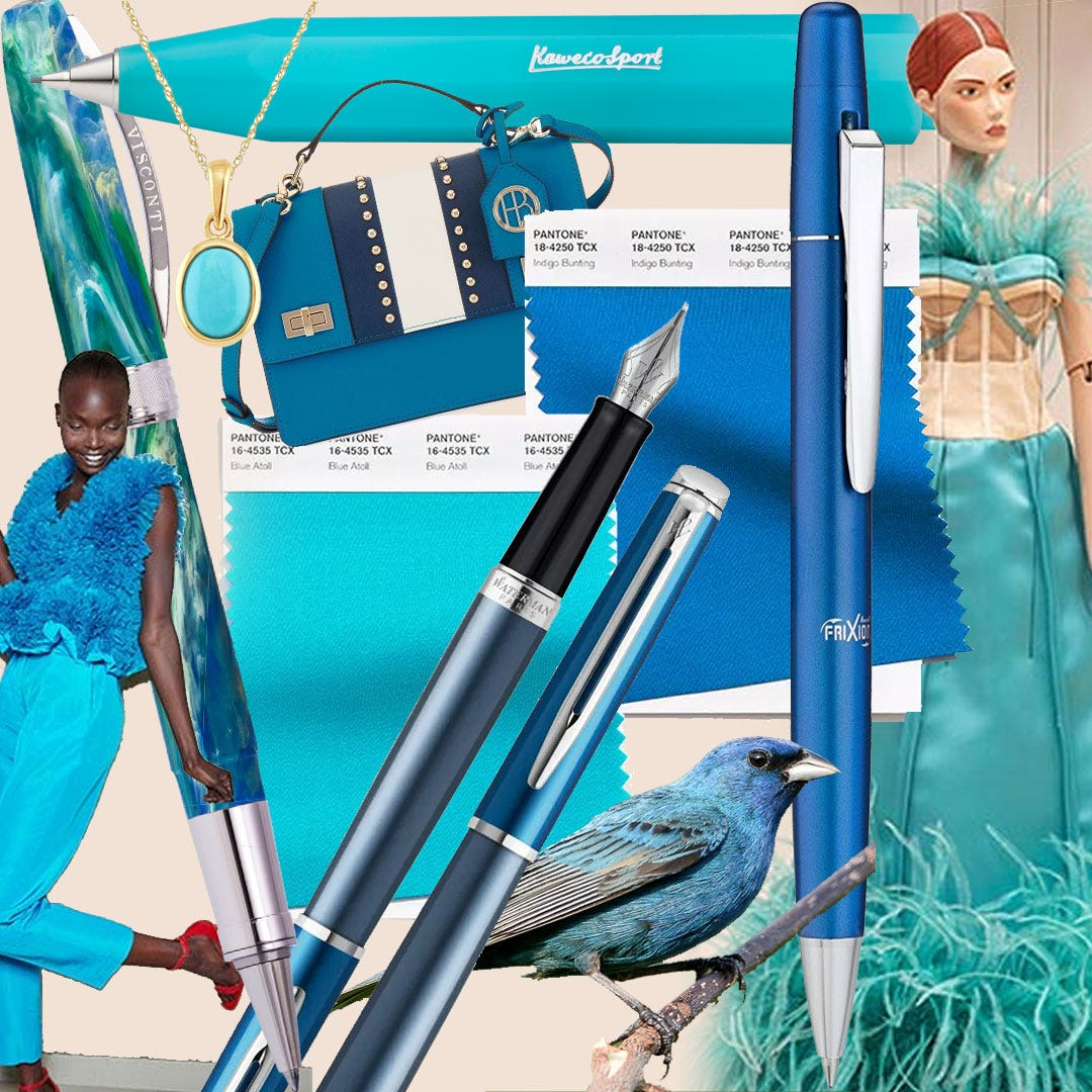 Mood board showing Pantone colours Blue Atoll and Indigo Bunting with matching products