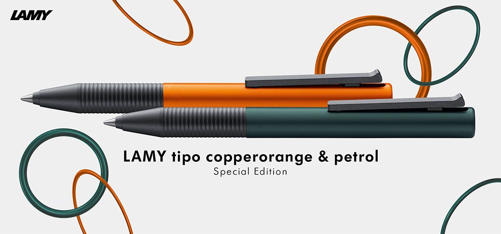 Lamy Tipo Capless Rollerball Pens - 2021 Special Editions - Copper Orange & Petrol