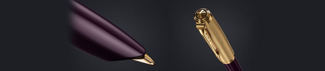 Parker 51 Premium Plum Fountain Pen - detailed close ups