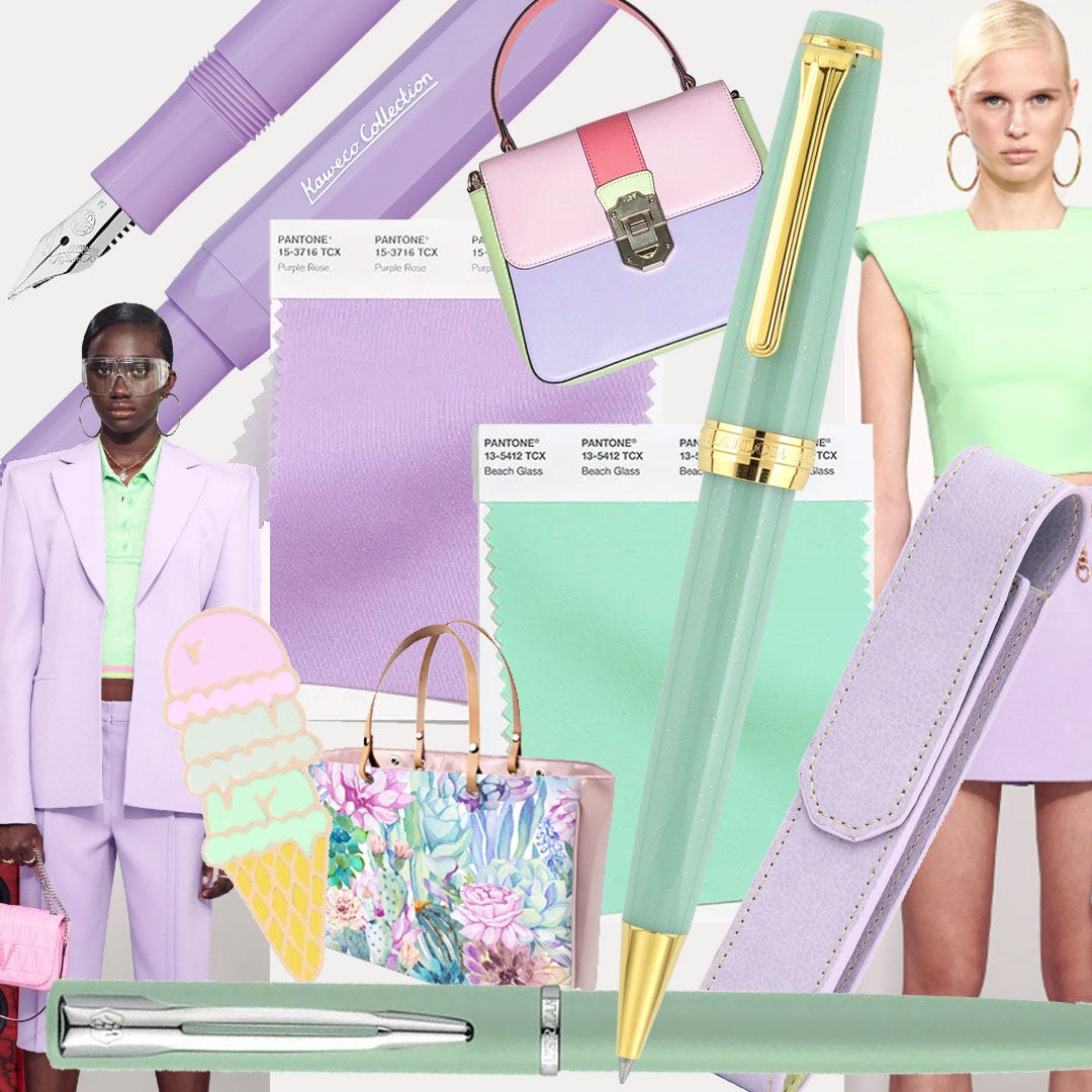 Mood board showing Pantone colours Purple Rose and Beach Glass with matching products