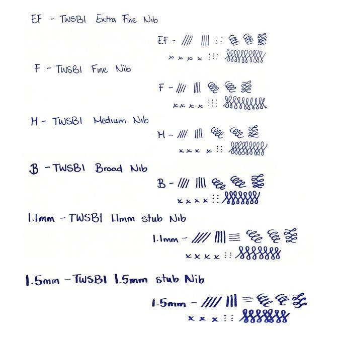 TWSBI nib size guide