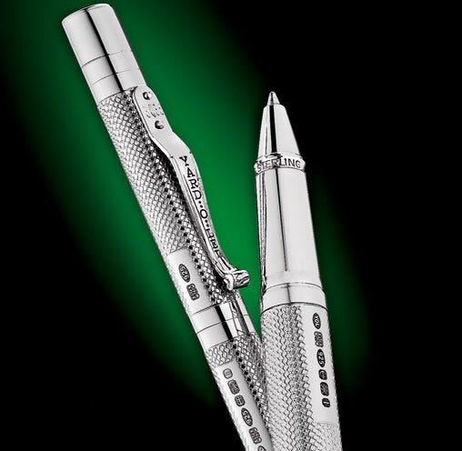 Yard-o-Led pens showing sterlign silver hallmarks