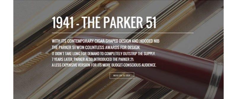 Milestones of The Parker Pen Company