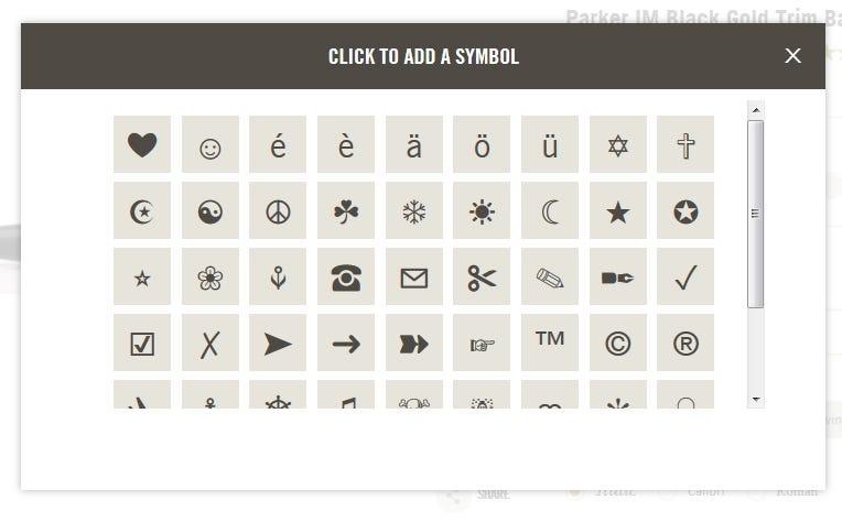 Engraving Symbols Pop-Up Menu